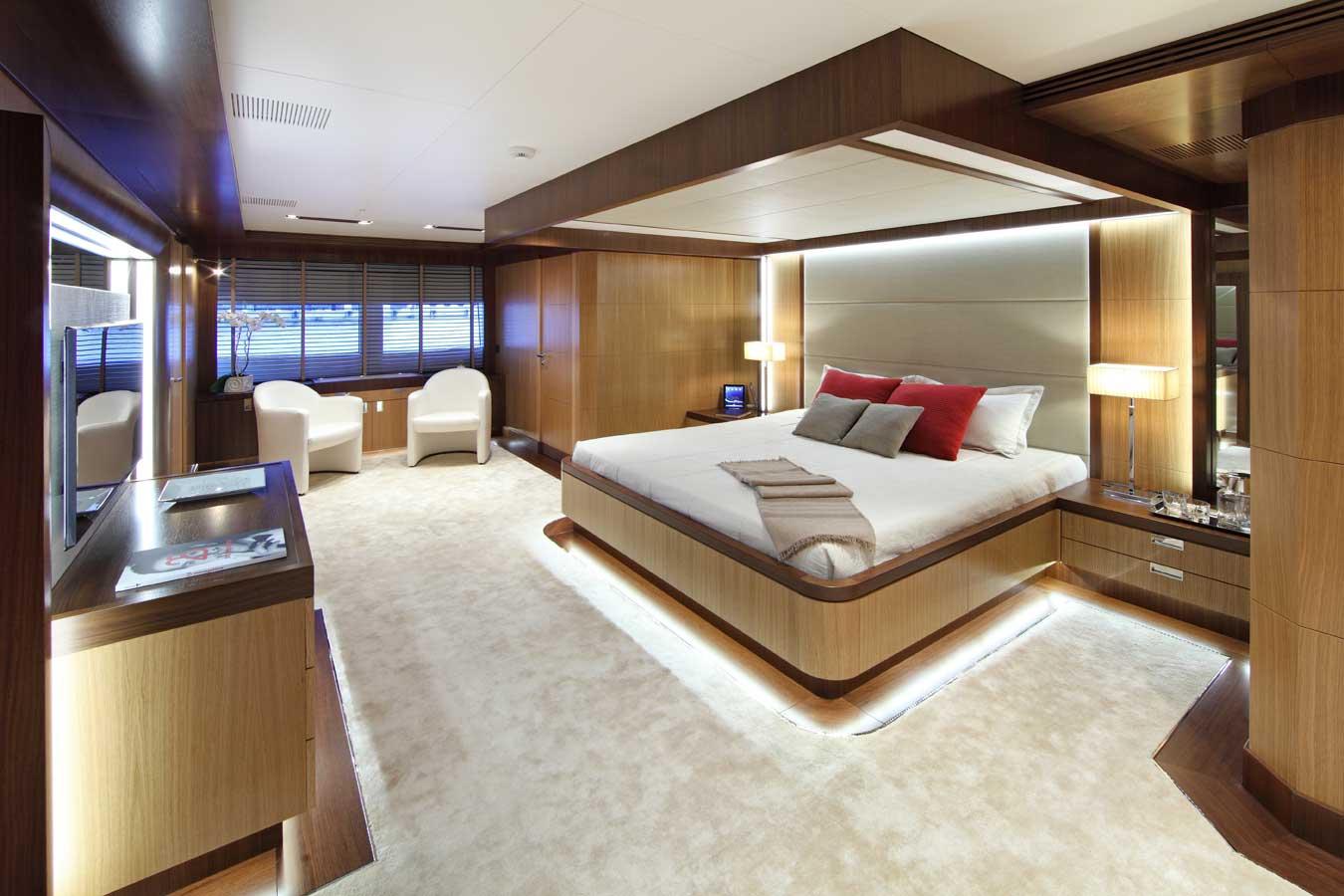 The master suite aboard the Prima