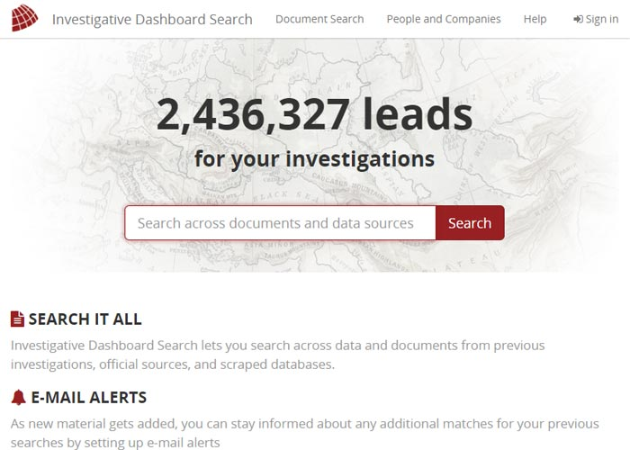 Investigative Dashboard Search